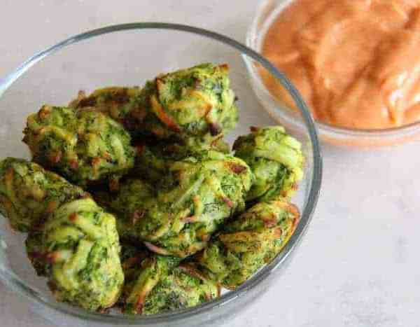 Zucchini Tots With Spicy Sriracha Mayonnaise