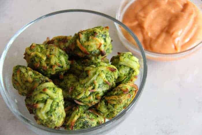 Zucchini Tater Tots with Spicy Sriracha Mayonnaise | Kid friendly food | Hidden Vegetables | Veggie Tater Tots | www.madewithHAPPY.com