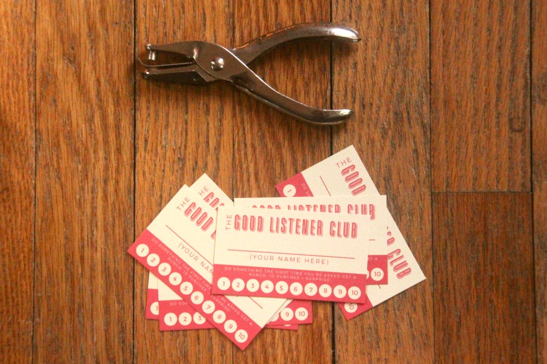 The Good Listener Club — a punch card (and free template) to help kids be better listeners plus instructions for how to use. #parenting #behaviormodification #toddlers #listening #skilldevelopment #momlife #