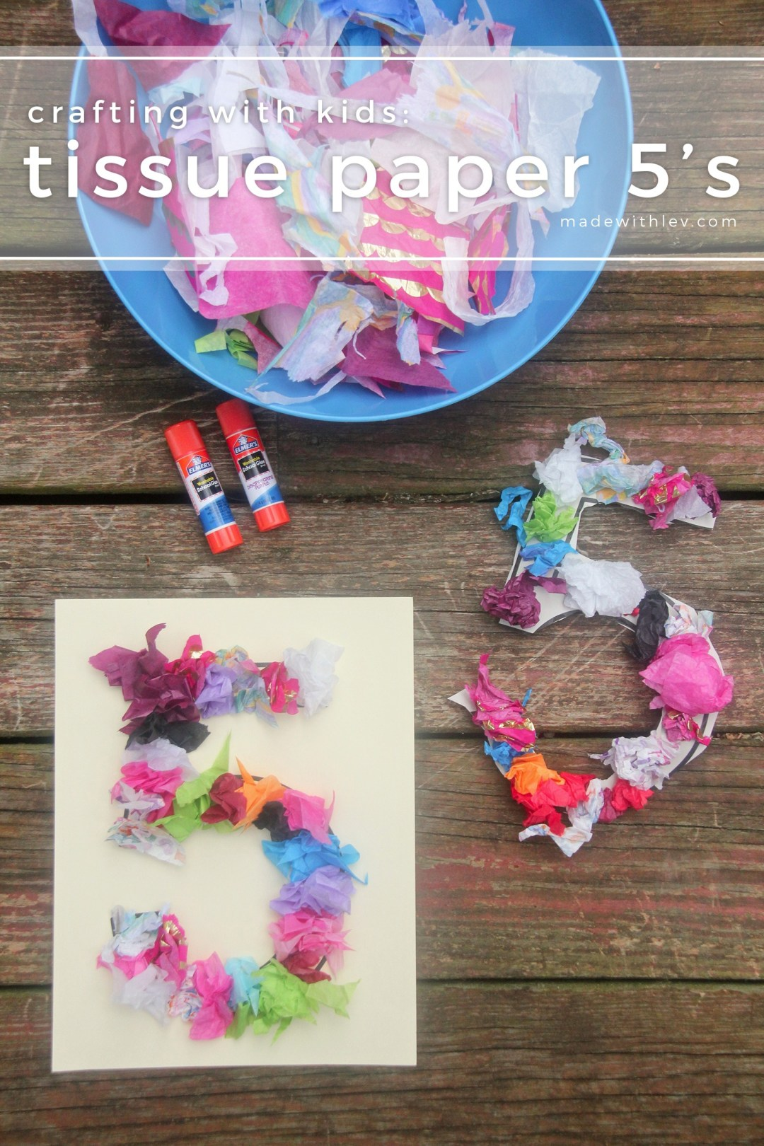 Crafting with Kids: Tissue Paper 5's (or any other number you want). Great way to use up spare tissue paper while practicing dexterity and getting creative. #kidscrafts #cincodemayo #craftproject #craftideas #familycraft #tissuepaper #colorfulcrafts