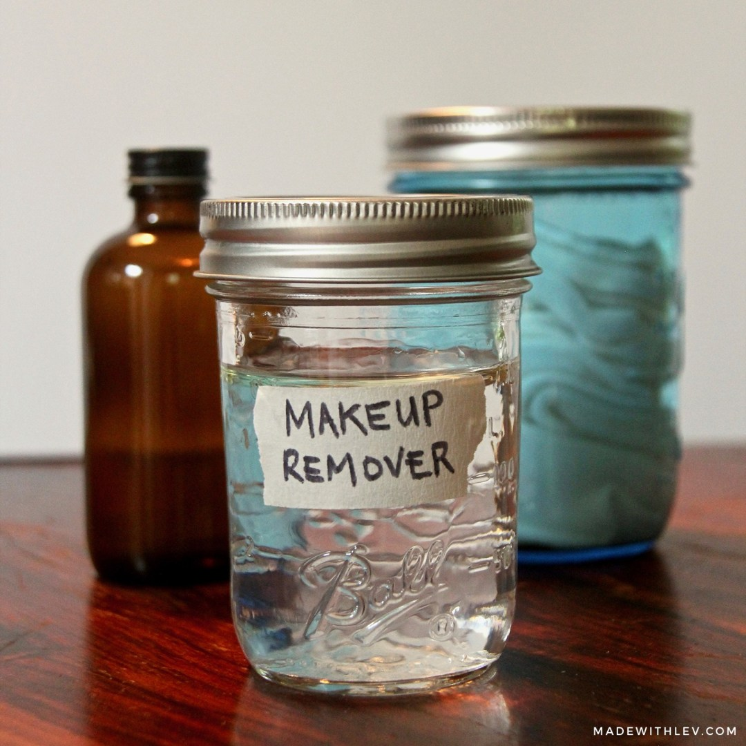 DIY Eye Make-up Remover | two different recipes for a gentle make up remover that is sure to please even the fussiest of skin. #diybeaty #makeupremover #drbronners