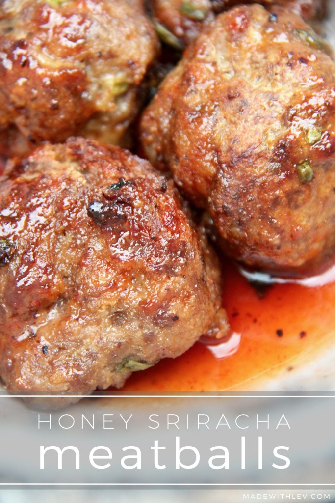 Up your meatball (and dinner) game with these sweet and spicy Honey Sriracha Meatballs. They are perfection paired with jasmine rice and green beans.