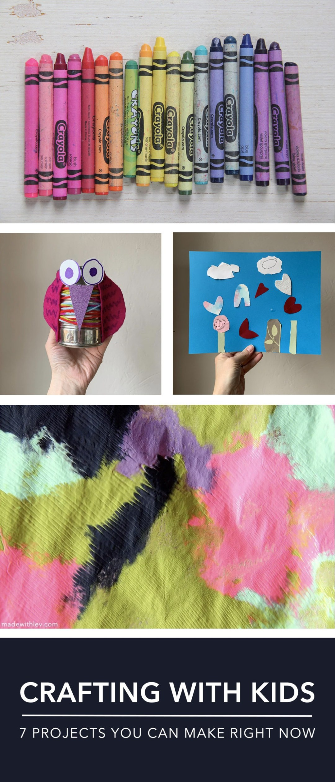 Crafting with kids: 7 projects you can make right now with things you already have in your home. #kidscrafts #craftingwithkids #papercrafts #kidsart #elementaryaged #kindergarten
