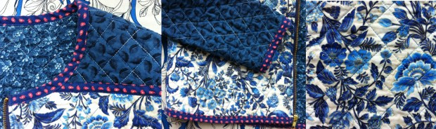 Mad For Fabric DIY Quilted Jacket Close Up Front Top and Bottom Views