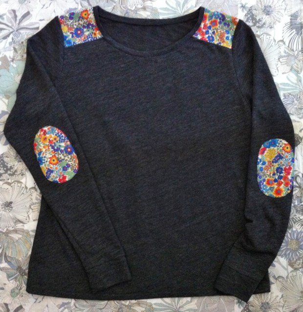 DIY Liberty Shoulder and Elbow Patch Tee by Mad For Fabric