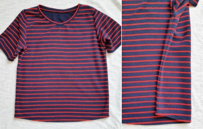 Mad For Fabric - DIY Navy and Red Striped Top