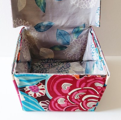 Mad For Fabric - DIY Fabric Box With Attached Lid Interior