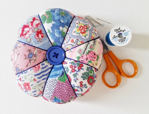 Mad For Fabric - Vintage Feedsack Patchwork Pincushion View From Top