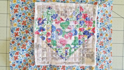 Mad For Fabric Mini Heart Quilt Block Quilt Sandwich