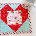 Mad For Fabric Fussy Cut Heart Pixie Noel Christmas Mug Rug