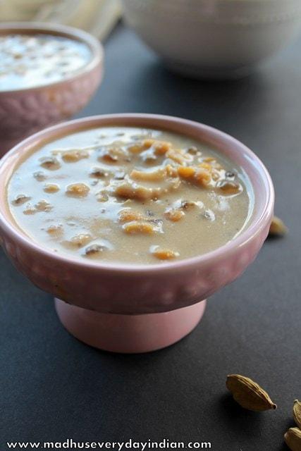 chana dal payasam or senaga pappu payasam