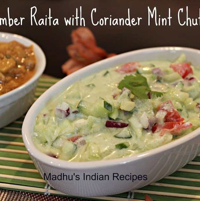 cucumber raita with coriander mint chutney