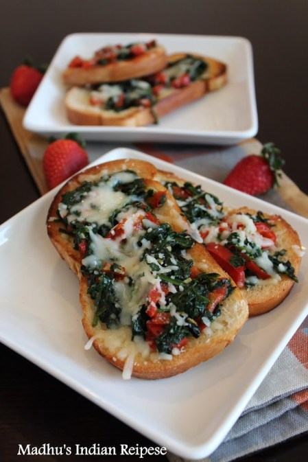 BRUSCHETTA WITH SPINACH, RED BELL PEPPER AND MOZZARELLA CHEESE RECIPE