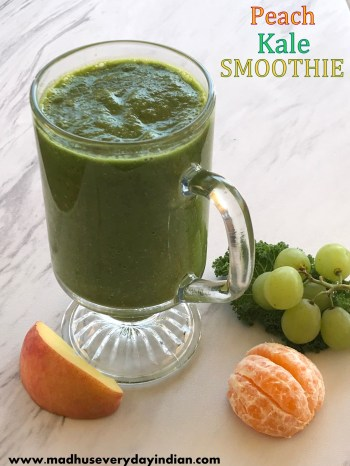 peach kale green smoothie with orange and green grapes