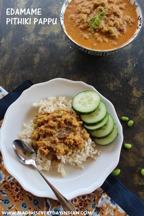 south indian style edamame curry served with brown rice