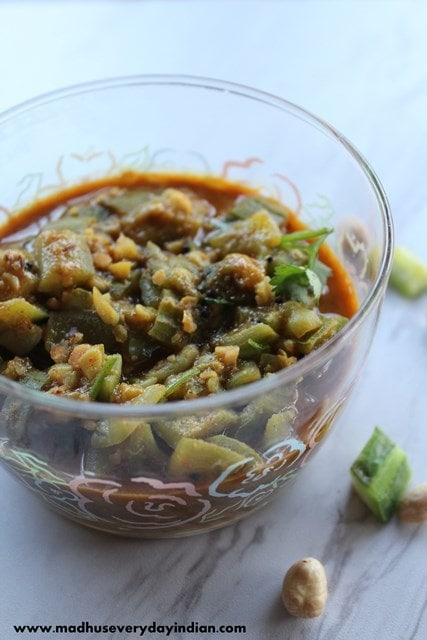 ridge gourd curry or beerakaya peanut kura or turai ki subji