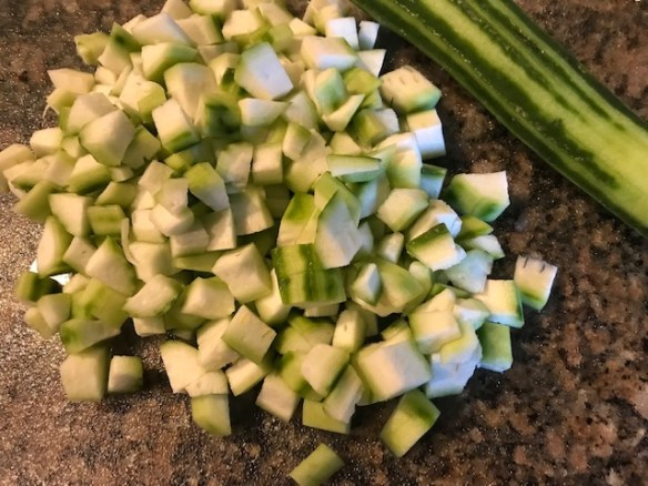 cut ridge gourd or turai pieces