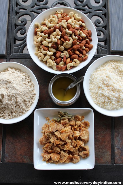 wheat flour and nuts ladoo ingredients
