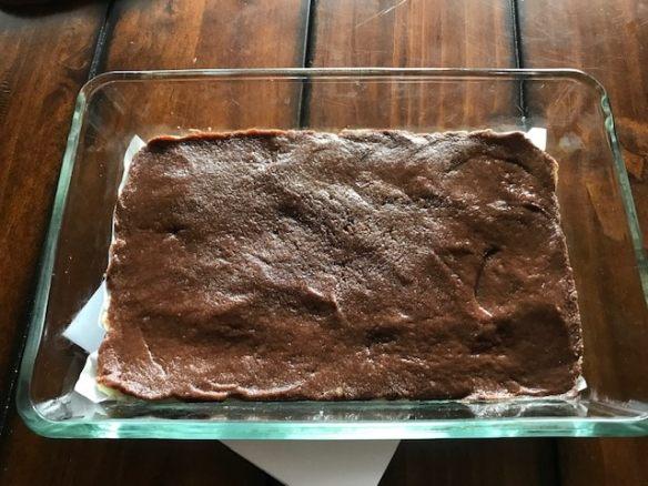 chocolate burfi ready to set