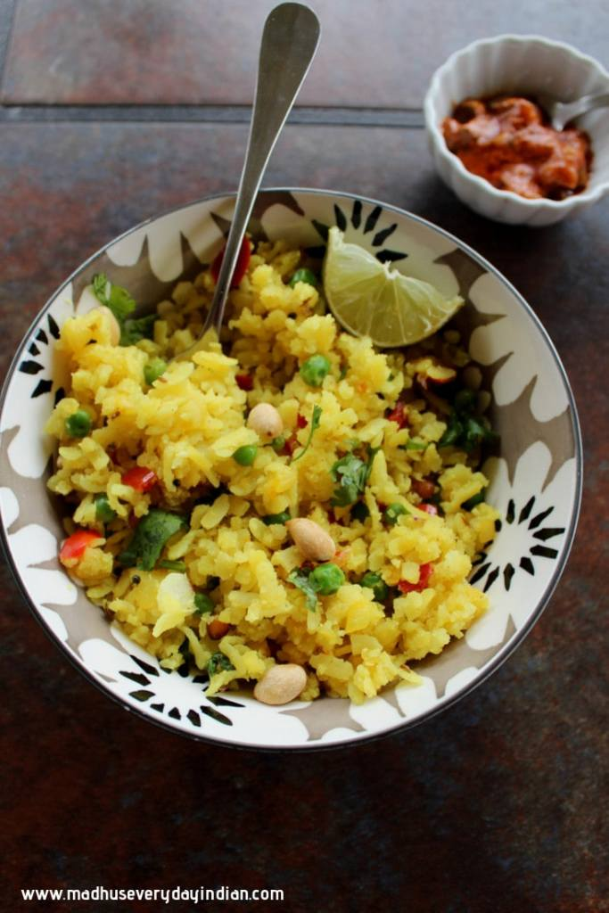aval upma served with mango pickle