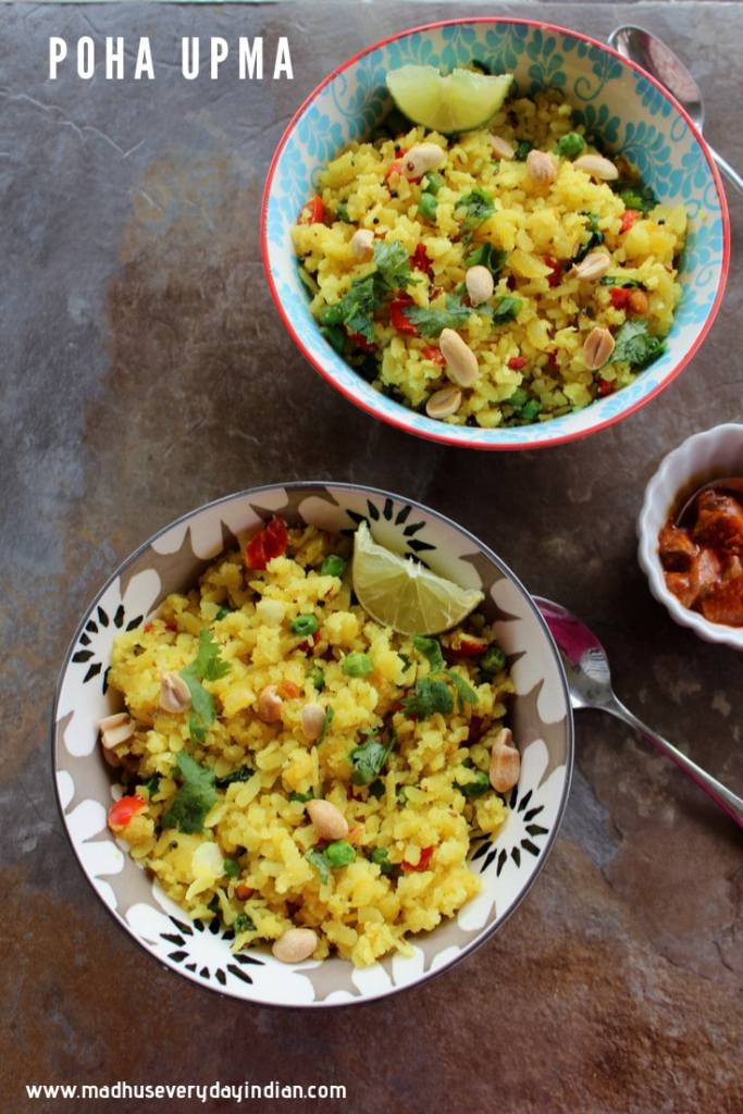 poha upma served with mango pickle and peanuts