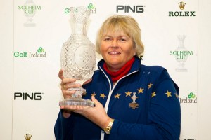 Dame Laura Davies with the Solheim Cup, Killeen. Picture - LET.