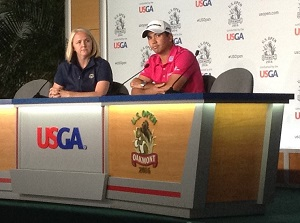 World No 1, Jason Day, giving his opening press conference of the week