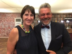 Maureen with Ryder Cup captain Darren Clarke sporting his Royal Portrush bow tie.