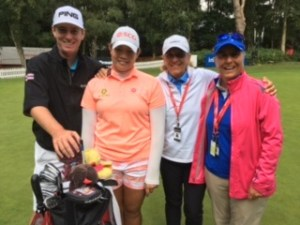Ariya with caddy Peter and mentors Pia and Lynn