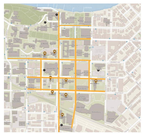 Sidewalk delivery robot routes