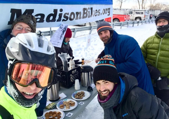 A very cold Madison Bikes commuter station during Winter Bike Week 2018