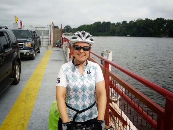 Cyclist aboard the Merrimac Ferry