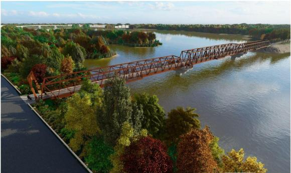 Rendering of the Wisconsin River Recreation Bridge (Photo Credit: Wisconsin River Recreation Bridge Feasibility Study)