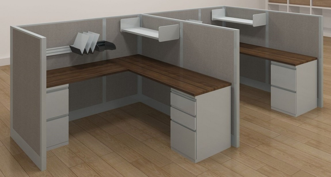 Powered Office L Shaped Cubicle Desk With Locking Drawers