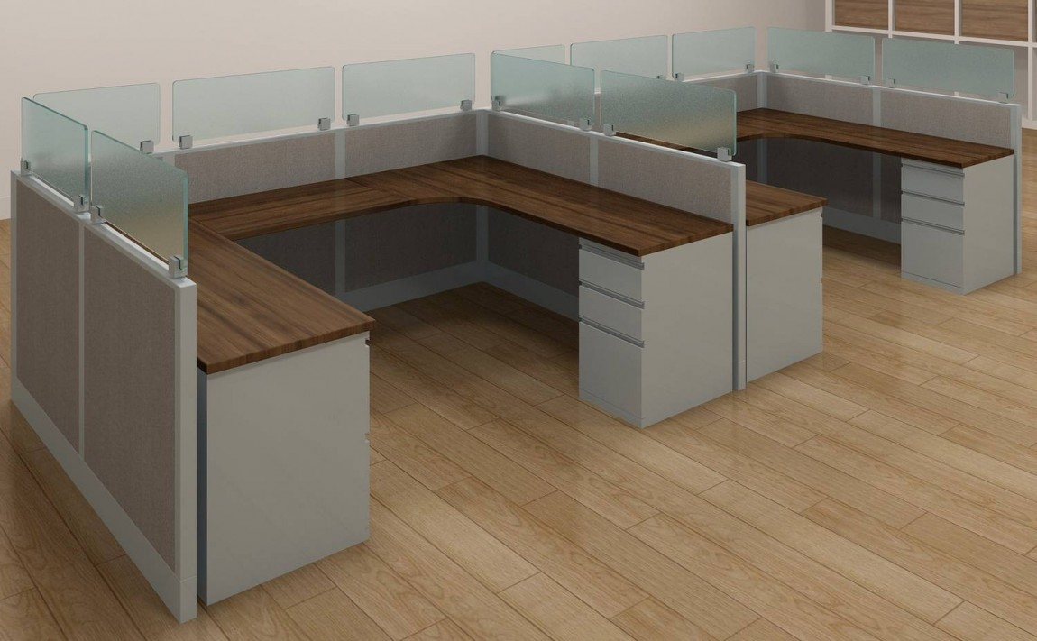 8x6 U Shaped Cubicle Workstations With Glass Dividers