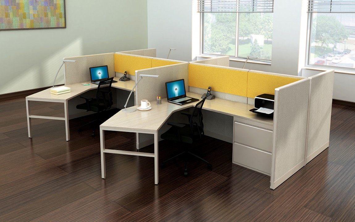 Curved L Shape Cubicle Desk Workstations Madison Liquidators