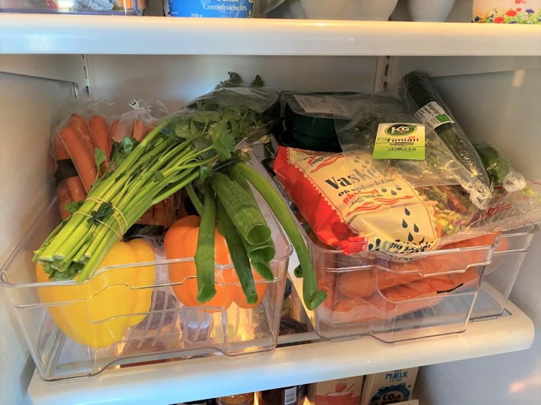 grøntsager i køleskabet