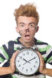 young white boy stressed clock time hurried