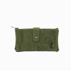 Portefeuille vert en liège pour femme