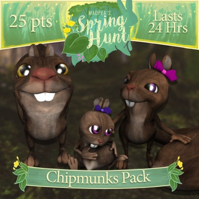 """The """"Chipmunk Pack"""" costs $1275L, and has Momma, Daddy, Baby Chipmunk! (You save $225L)"""