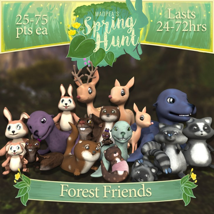 "The ""Forest Friends"" contains 1 of each of the Animal Packs, 18 Animals in total, and costs $10,000L (You save $2000L)"
