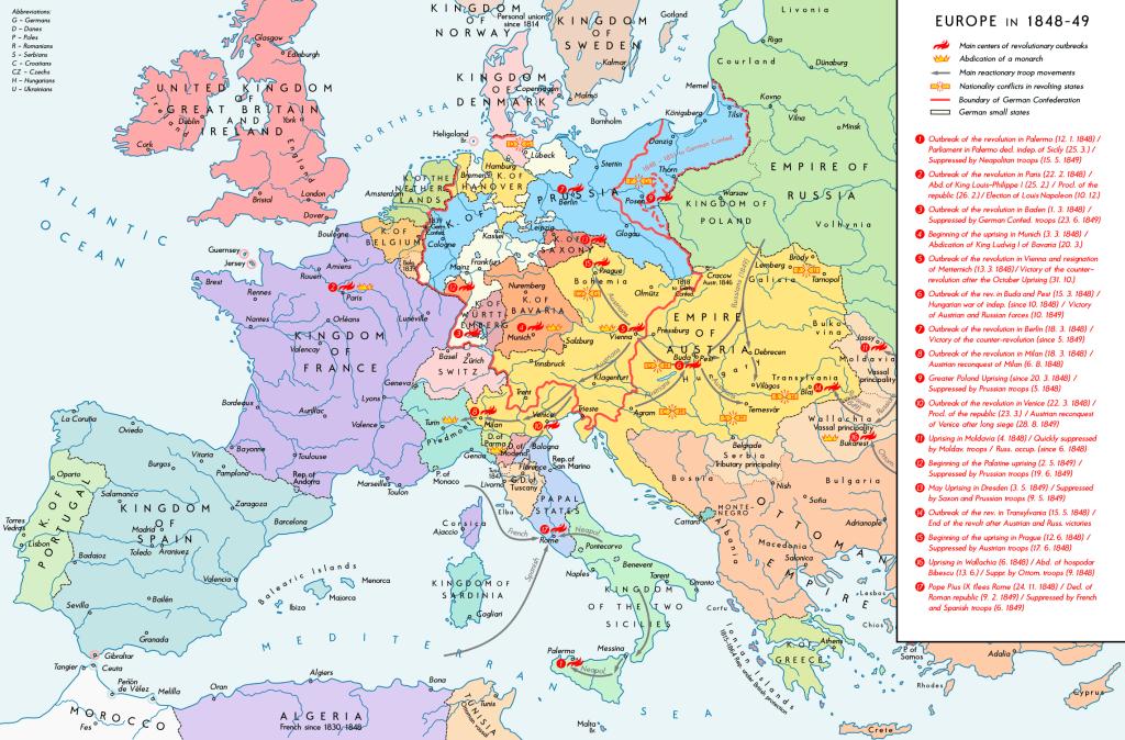 Revolutionsvågen 1848 förändrade statsskicken i inte mindre än 17 regioner. Kartan är stor, klicka upp den i orginalstorlek