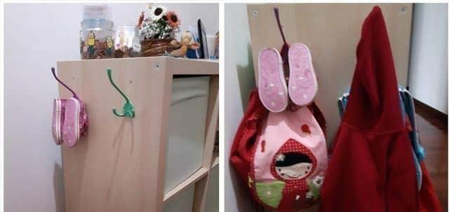 Ganchos para recoger y ordenar los zapatos, chaquetas y mochilas