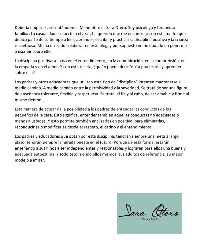 Texto sobre disciplina positiva de Sara Otero