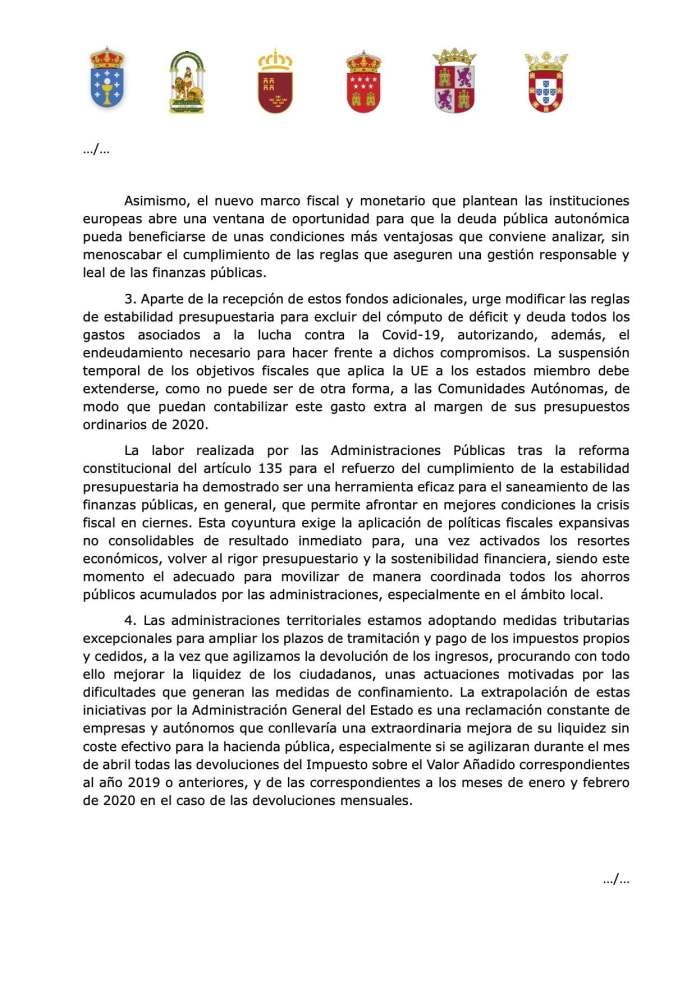 Cinco autonomías reclaman a Sánchez financiación sin condiciones, igual que España a la UE 3