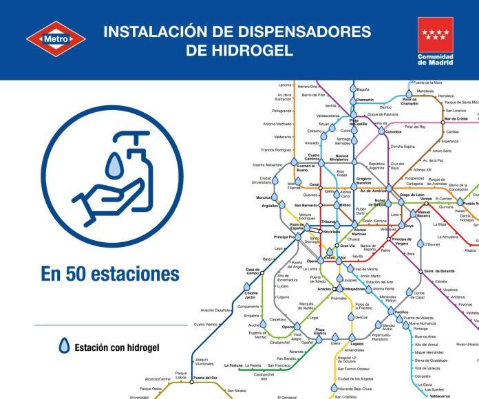 Gel hidroalcohólico en 50 estaciones de Metro 1