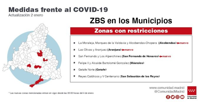 18 zonas de salud y 5 localidades confinadas desde este lunes 4