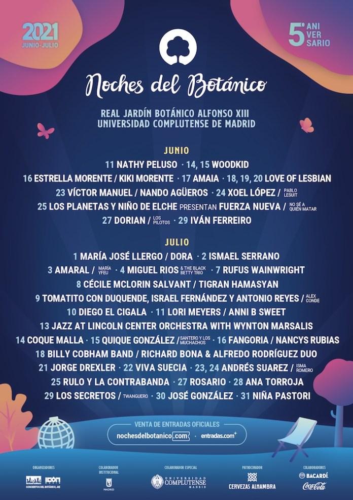 Cartel y artistas de las Noches del Botánico 2021 5