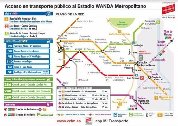 Cómo ir al Wanda en transporte público.