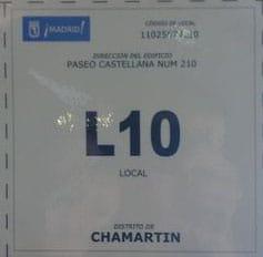 Cartel identificativo censo locales licencia de apertura